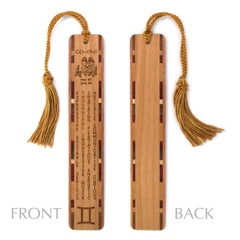 Gemini Zodiac Sign Artwork and Positive Personality Traits Engraved Wood Bookmark With Inlays and Tassel