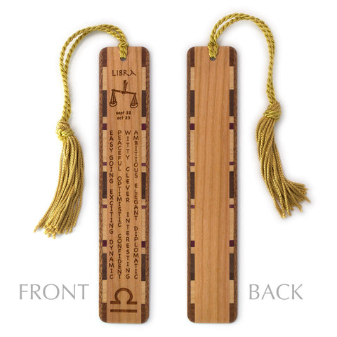 Libra Zodiac Sign Artwork and Positive Personality Traits Engraved Wood Bookmark With Inlays and Tassel