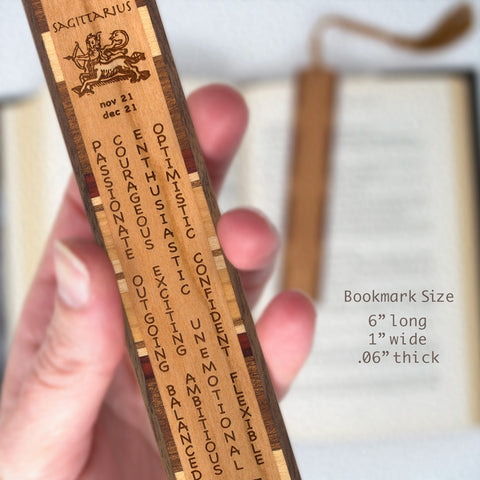 Sagittarius Zodiac Sign Artwork and Positive Personality Traits Engraved Wood Bookmark With Inlays and Tassel