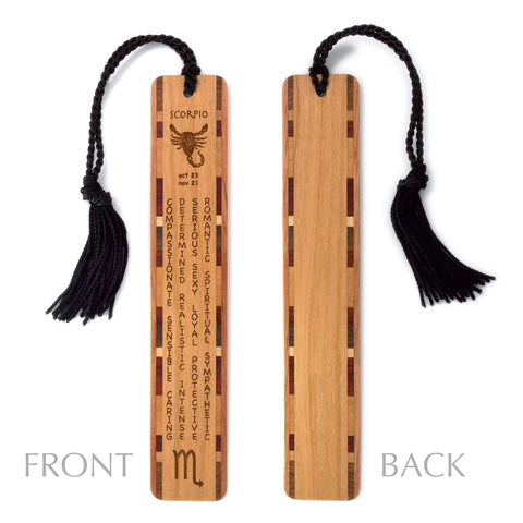 Scorpio Zodiac Sign Artwork and Positive Personality Traits Engraved Wood Bookmark With Inlays and Tassel