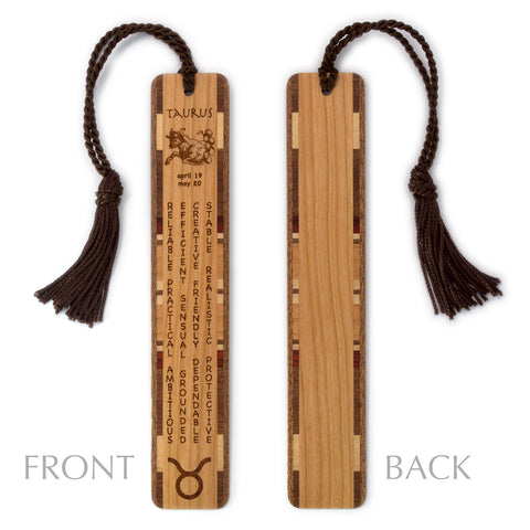 Taurus Zodiac Sign Artwork and Positive Personality Traits Engraved Wood Bookmark With Inlays and Tassel