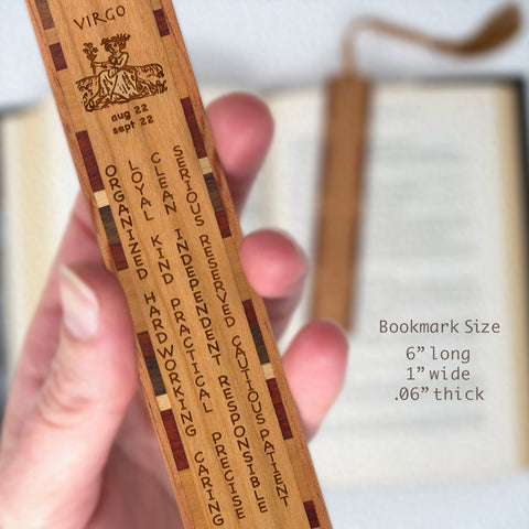 Virgo Zodiac Sign Artwork and Positive Personality Traits Engraved Wood Bookmark With Inlays and Tassel
