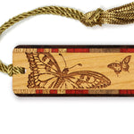 Butterflies Engraved Wooden Bookmark with Tassel