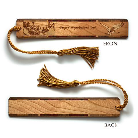 Bryce Canyon National Park, Utah, Wooden Bookmark with Original Laser Engraving and Tassel