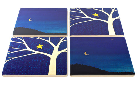 Starry Tree & September Eve Wood Coasters - From Original Paintings By Christi Sobel - Set of 4 or 6 Wooden Coasters With Optional Holder