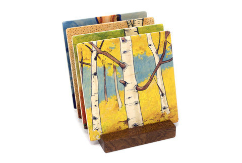 My Favorite Trees Wood Coasters - Original Paintings By Christi Sobel - Aspens, Roots, Favorite Birch, Old Tree Dreaming - Set of 4 Wooden Coasters