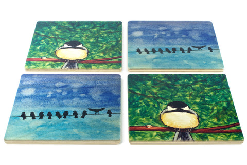 Grumpy Chickadee and Birds on a Wire Wood Coasters - From Original Paintings By Christi Sobel - Set of 4 or 6 Wooden Coasters With Optional Holder