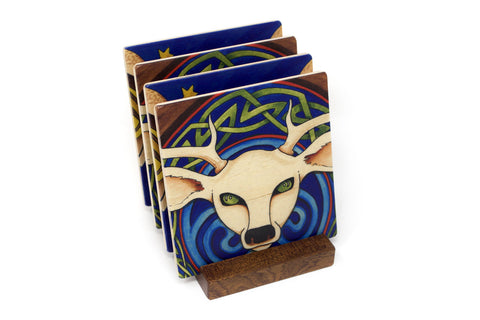 Celtic Barn Owl with White Deer Wood Coasters - From Original Paintings By Christi Sobel - Set of 4 or 6 Wooden Coasters With Optional Holder
