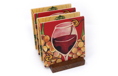 Good Vintage with Hops & Barley Wood Coasters - From Original Paintings By Christi Sobel - Set of 4 or 6 Wooden Coasters With Optional Holder