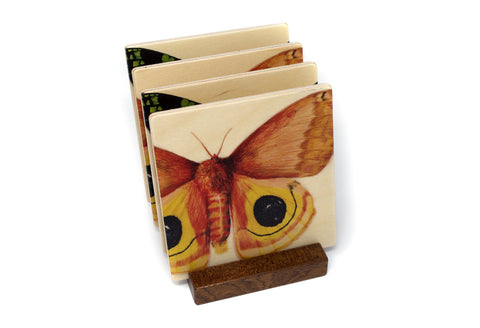 Moths Wood Coasters - From Original Paintings By Christi Sobel - Set of 4 or 6 Wooden Coasters With Optional Holder