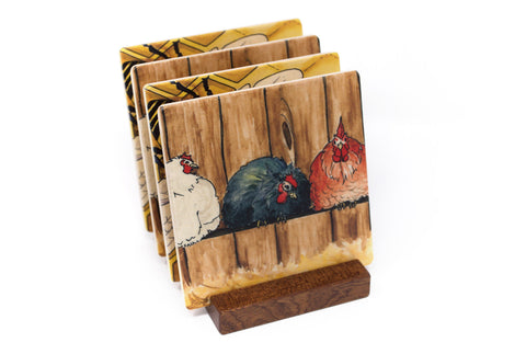 Chickens and Honey Bee Wood Coasters - From Original Paintings By Christi Sobel - Set of 4 or 6 Wooden Coasters With Optional Holder