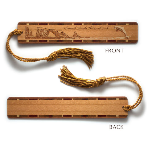Channel Islands National Park California Wooden Bookmark with Original Laser Engraving and Tassel