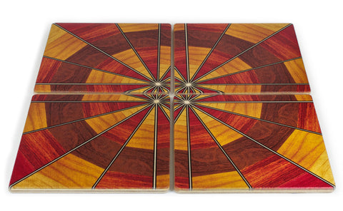 Coaster 4 Set - Original Inlay Reproduction Wooden Coasters