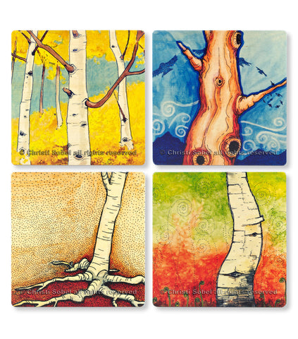 Wood Coaster Singles With Art By Christi Sobel