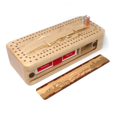 Regatta Sailboat Race Wooden Cribbage Board with quality metal pegs and deck of cards