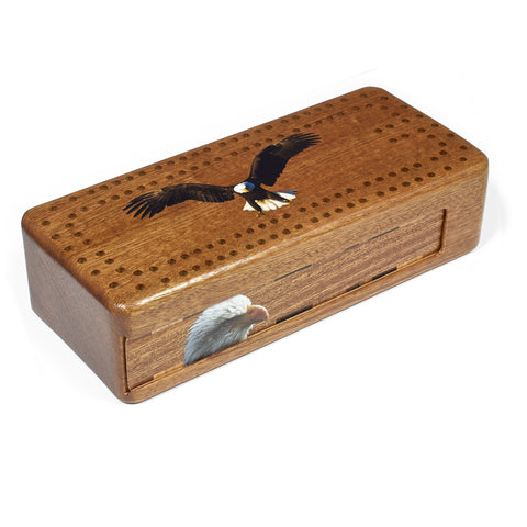 Bald Eagle Wooden Cribbage Board with quality metal pegs and deck of cards