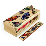 Colorful Butterflies Wooden Cribbage Board with quality metal pegs and deck of cards