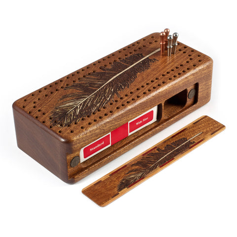 Feather Engraved Wooden Cribbage Board with quality metal pegs and deck of cards
