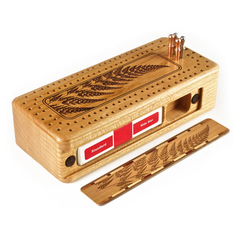 Fern Engraved Wooden Cribbage Board with quality metal pegs and deck of cards