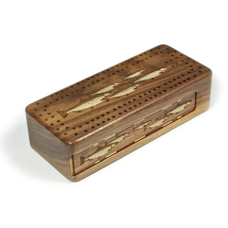 Fish Engraved Wooden Cribbage Board with quality metal pegs and deck of cards
