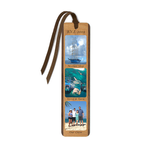 Custom Color Photo Wood Bookmark With Optional Text Labels