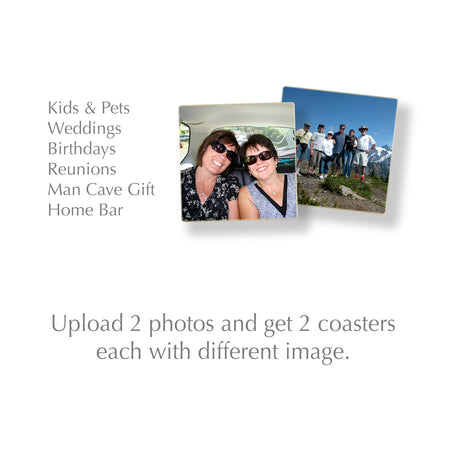 Custom Wood Coasters Set of 2 Using 2 Photographs, Logos or Artwork Files - Made in USA