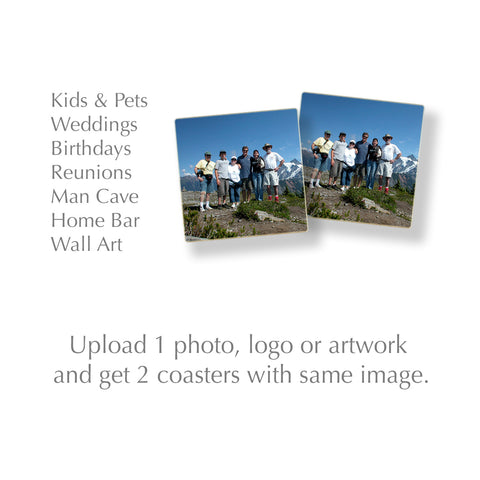Custom Wood Coasters Set of 2 Using 1 Photograph, Logo or Artwork - Made in USA
