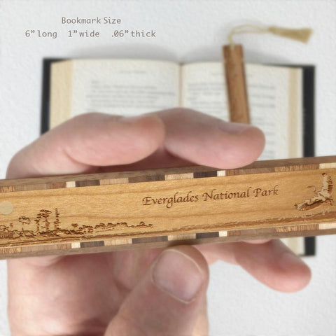 Everglades National Park Florida Wooden Bookmark with Original Laser Engraving and Tassel