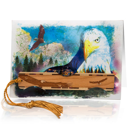 Bookmark Greeting Card - Combined card and gift bookmark - Bald Eagle