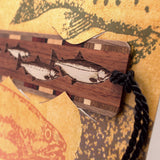 Bookmark Greeting Card - Combined card and gift bookmark - Fish Stamp Art