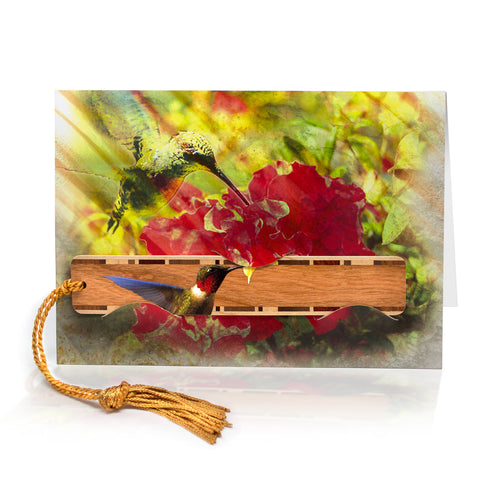 Hummingbird Greeting Card with Ruby Throated Hummingbird bookmark