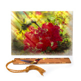 Hummingbird Greeting Card with Ruby Throated Hummingbird bookmark, picture separating the bookmark from the card.