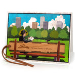 Bookmark Greeting Card - Combined card and gift bookmark - New York City Central Park Bench