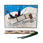 Bookmark Greeting Card - Combined card and gift bookmark - Sled