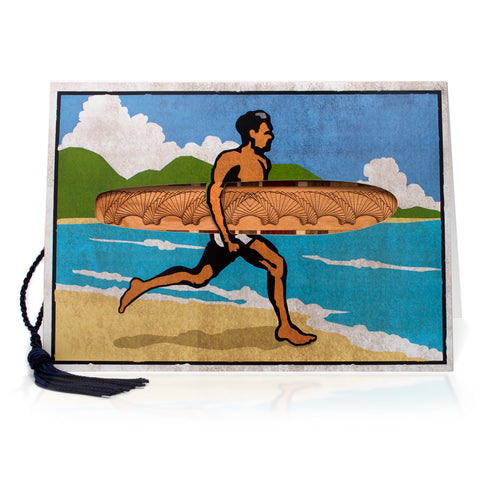 Bookmark Greeting Card - Combined card and gift bookmark - Surfer
