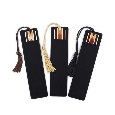 Set of three Inlaid Wooden Bookmarks with Tassels and Gift Pouches