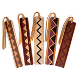 Set of five inlaid wooden bookmarks with black gift pouches and optional suede tassels - 608