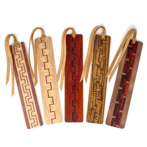 Set of five inlaid wooden bookmarks with black gift pouches and optional suede tassels - 612