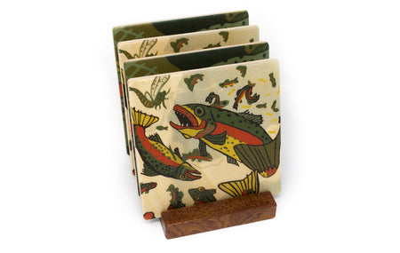 Fish Wood Coasters - From Original Wood Cut Artist Jenny Pope - Set of 4 or 6 Wooden Coasters With Optional Holder