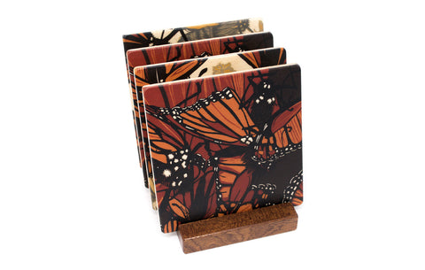 Monarchs Wood Coasters - From Original Wood Cut Artist Jenny Pope - Set of 4 or 6 Wooden Coasters With Optional Holder