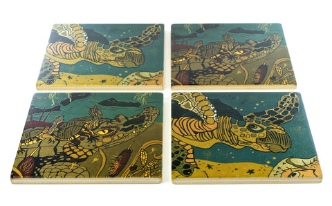 Gator and Turtle Wood Coasters - From Original Wood Cut Artist Jenny Pope - Set of 4 or 6 Wooden Coasters With Optional Holder