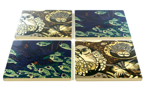 Owls and Swallow Wood Coasters - From Original Wood Cut Artist Jenny Pope - Set of 4 or 6 Wooden Coasters With Optional Holder