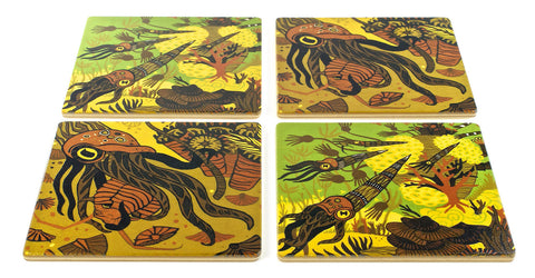 Devonian Reef Wood Coasters - From Original Wood Cut Artist Jenny Pope - Set of 4 or 6 Wooden Coasters With Optional Holder