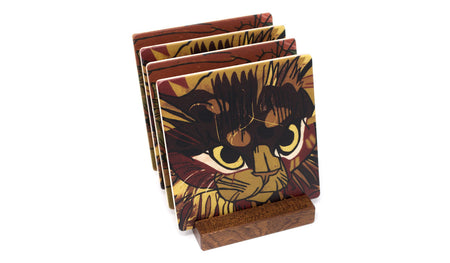 Cats That Love Wood Coasters - From Original Wood Cut Artist Jenny Pope - Set of 4 or 6 Wooden Coasters With Optional Holder
