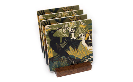 Pelican and Cormorant Wood Coasters - From Original Wood Cut Artist Jenny Pope - Set of 4 or 6 Wooden Coasters With Optional Holder