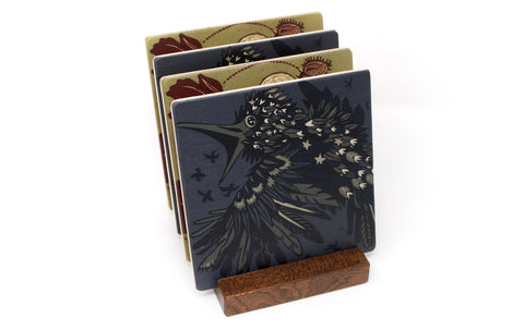 Poppy Ptarmigan and Starling Wood Coasters - From Original Wood Cut Artist Jenny Pope - Set of 4 or 6 Wooden Coasters With Optional Holder