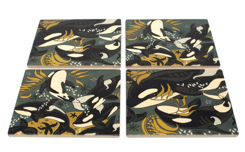 Orca (Killer) Whale Wood Coasters - From Original Wood Cut Artist Jenny Pope - Set of 4 or 6 Wooden Coasters With Optional Holder