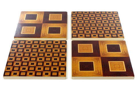 Adapted From Unique Woodworking Patterns by Mitercraft - set of 4 or 6 wood coasters with optional holders - set #02