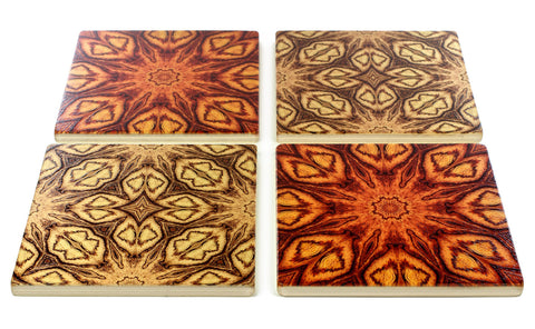 Adapted From Unique Woodworking Patterns by Mitercraft - set of 4 or 6 wood coasters with optional holders - set #11