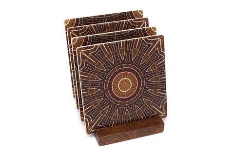 Adapted From Unique Woodworking Patterns by Mitercraft - set of 4 or 6 wood coasters with optional holders - set #12